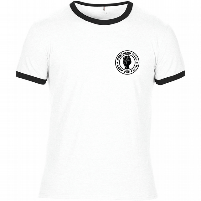 Northern Soul - Keep The Faith Ringer style T Shirt