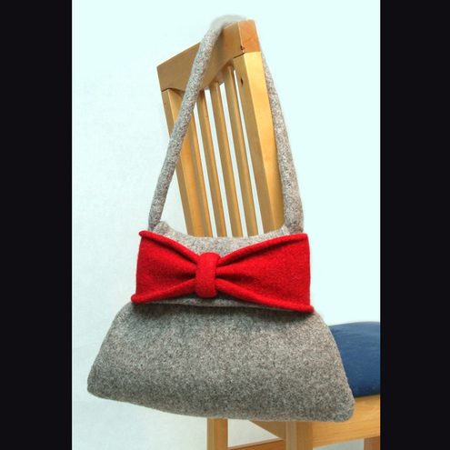 My Baboo Big Bow Bag, red and grey