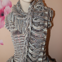 Woman's cardigan with scarf, hand knit cardigan, unique scarf, women set