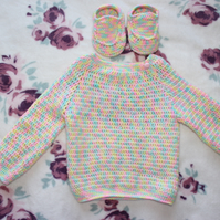 Crochet baby jumper and booties, children clothing, boys, girls jumper and boots