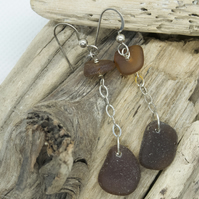 Brown seaglass double drop earrings
