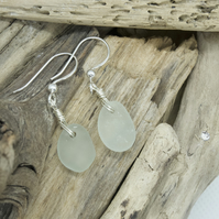 Sea foam seaglass earrings