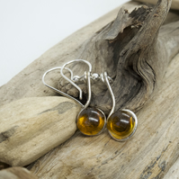 Brown seaglass and resin dangle earrings