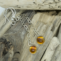 Long seaglass and resin dangle earrings
