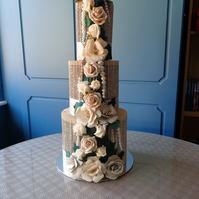 3 tier bookfolded wedding cake