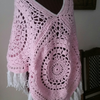 Crochet poncho pink large