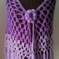 Light lacy summer crochet ladies shawl with flower fastener