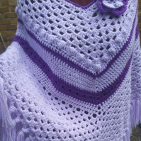 Retro crochet poncho handmade with crochet flower and fringe