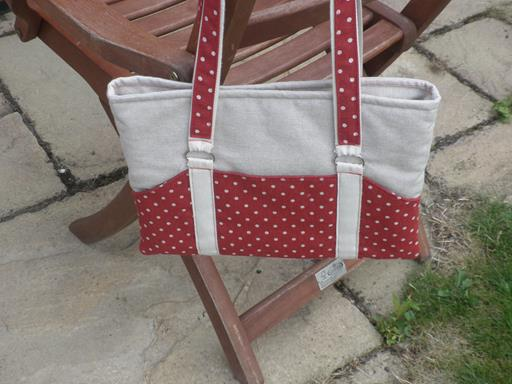 Spot on Red and Natural Linen Spotty iPad or Tablet  Bag