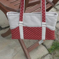 iPad or Tablet  Bag Spot on Red and Natural Linen Spotty