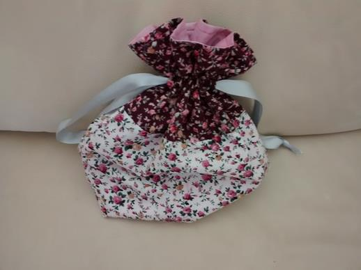 Two-tone Floral Print Drawstring Bag