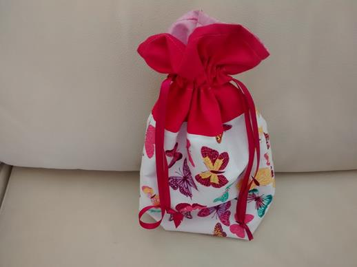 Butterfly Print Drawstring Bag