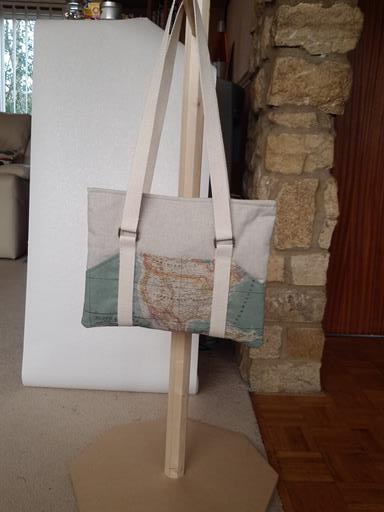 Tablet Bag or Project bag with World map print pockets