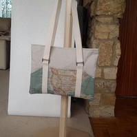 iPad or tablet Bag with World map print pockets