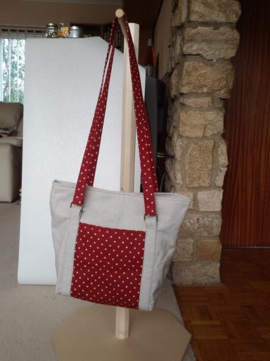 Large Linen & Red Spotty Tote Bag with matching purse