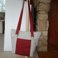 Large Linen & Red Spotty Tote Bag