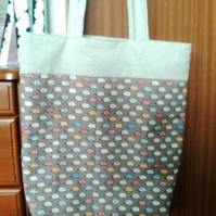 Hedgehog print large shopper tote bag with padded straps.