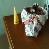 Folded Drawstring gift Bag in Vintage Hats, Gloves and Bags Print Fabric,