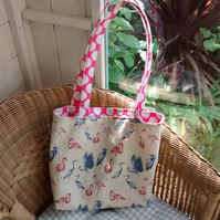 Shopping tote bag in Flamingo and Stork print REDUCED