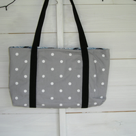 Grey White Spot Tote Bag