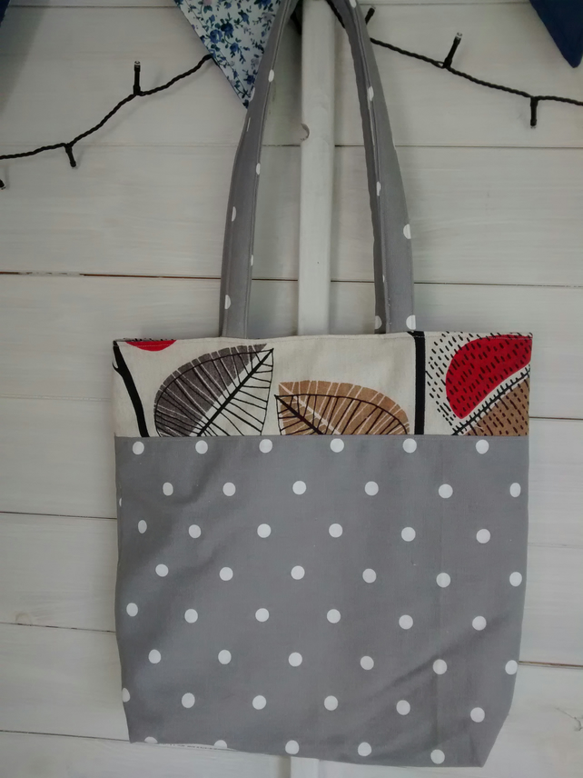 Grey With White Spots & Leaf Print Bag