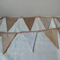 Bunting in a Coffee and Cream double sided scandi print