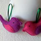 A pair of felt lovebirds