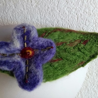 Needle Felted purple flower brooch OOAK