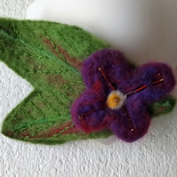 Needle Felted flower brooch OOAK