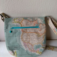 World map crossover body style bag