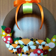 Fox family felt wreath