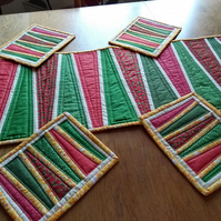 Red and Green table mats and table runner, quilted patchwork