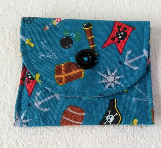 Pirate print Button fastening coin or card purse