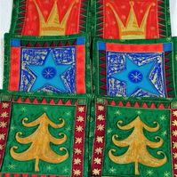 Set of six square quilted coasters with a Christmas theme