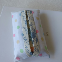 Pocket tissue holder in polka dot print