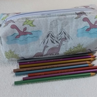 Zipped Pencil case in a cute dinosaur print