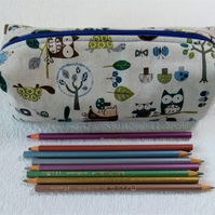 Woodland themed zipped pencil case