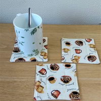 Set of 3 quilted coaster in a coffee theme print