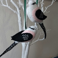 Felt Embroidered Bird  The Long tailed Tit