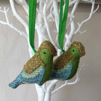 Felt Embroidered Bird  The Greenfinch