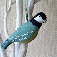 Felt Embroidered Bird  The Great Tit