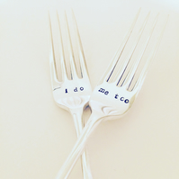 I do, me too wedding fork gift set