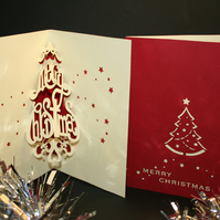 Text Christmas Tree 3D Pop-up Christmas Card