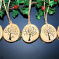 5 x Wooden Tree Slice Christmas Decorations Gift Tags 5cm Silhouette Trees