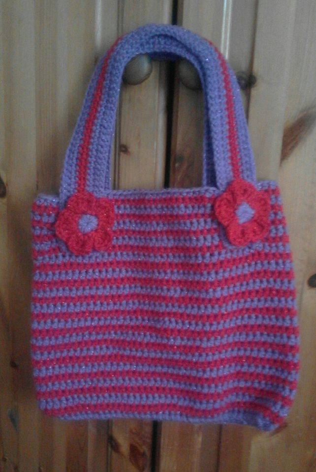 Crochet sparkly  striped  bag