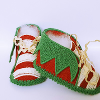 Baby shoes, Christmas booties, baby elf shoes, baby christmas shoes