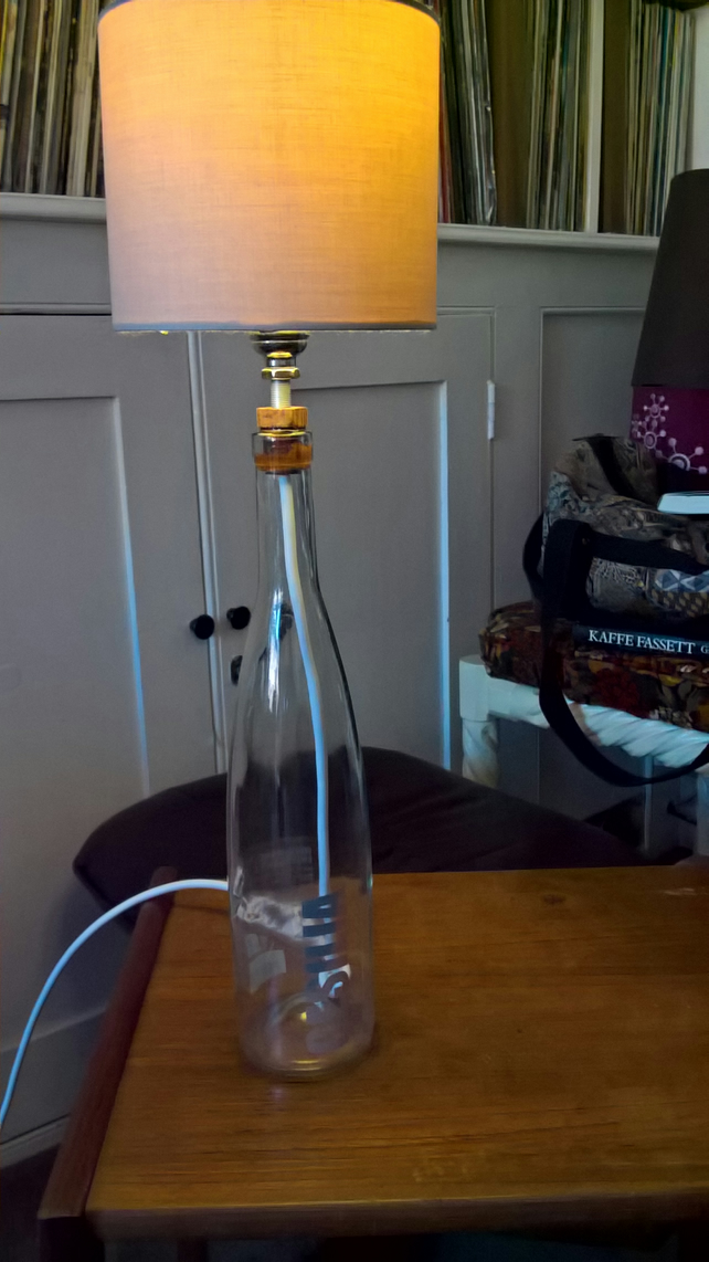 White wine bottle pop art lamp shade (Bulb and shade NOT included)