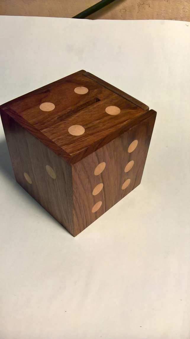 A Black Walnut Money Box with Sycamore dots