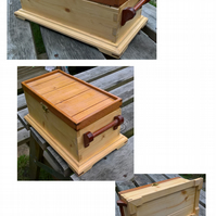 Cherry and Mahogany lid pattern jewellery box with two mahogany handles