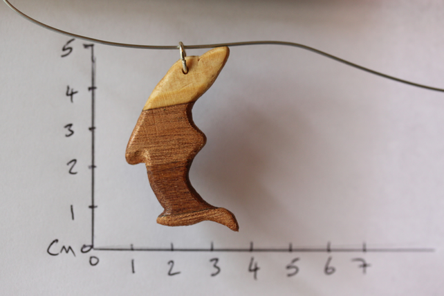 Shark Pendant with three veneers (coloured woods)